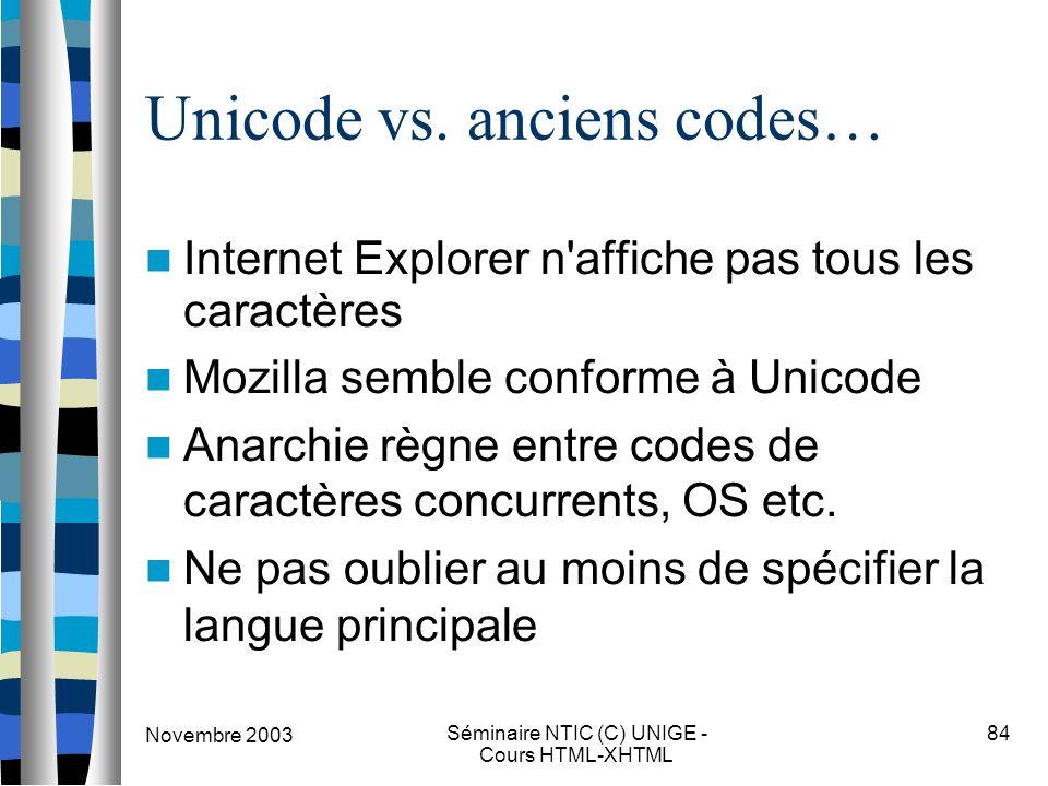 Novembre 2003 Séminaire NTIC (C) UNIGE - Cours HTML-XHTML 84 Unicode vs. anciens codes… Internet Explorer n'affiche pas tous les caractères Mozilla se