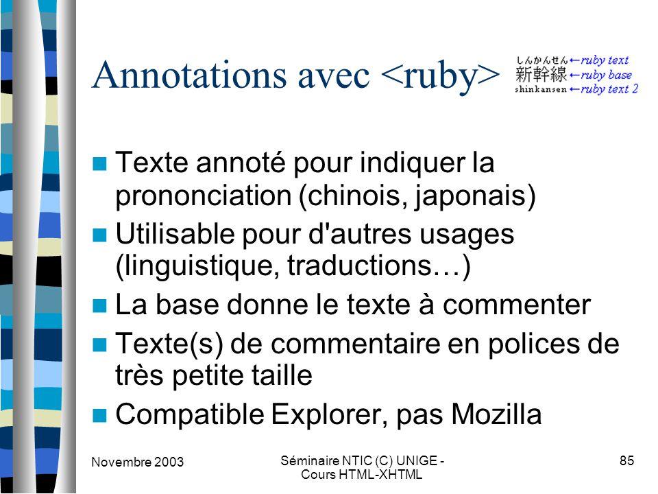Novembre 2003 Séminaire NTIC (C) UNIGE - Cours HTML-XHTML 85 Annotations avec Texte annoté pour indiquer la prononciation (chinois, japonais) Utilisab