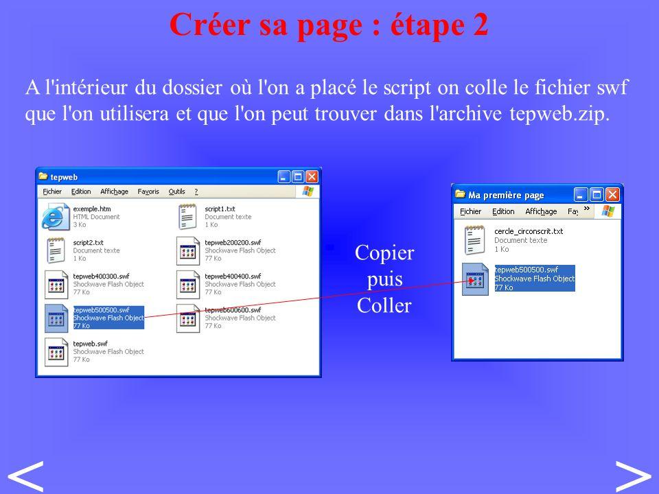 A l intérieur du dossier où l on a placé le script on colle le fichier swf que l on utilisera et que l on peut trouver dans l archive tepweb.zip.