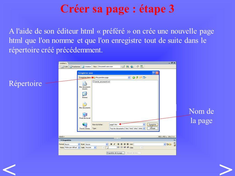 A l aide de son éditeur html « préféré » on crée une nouvelle page html que l on nomme et que l on enregistre tout de suite dans le répertoire créé précédemment.