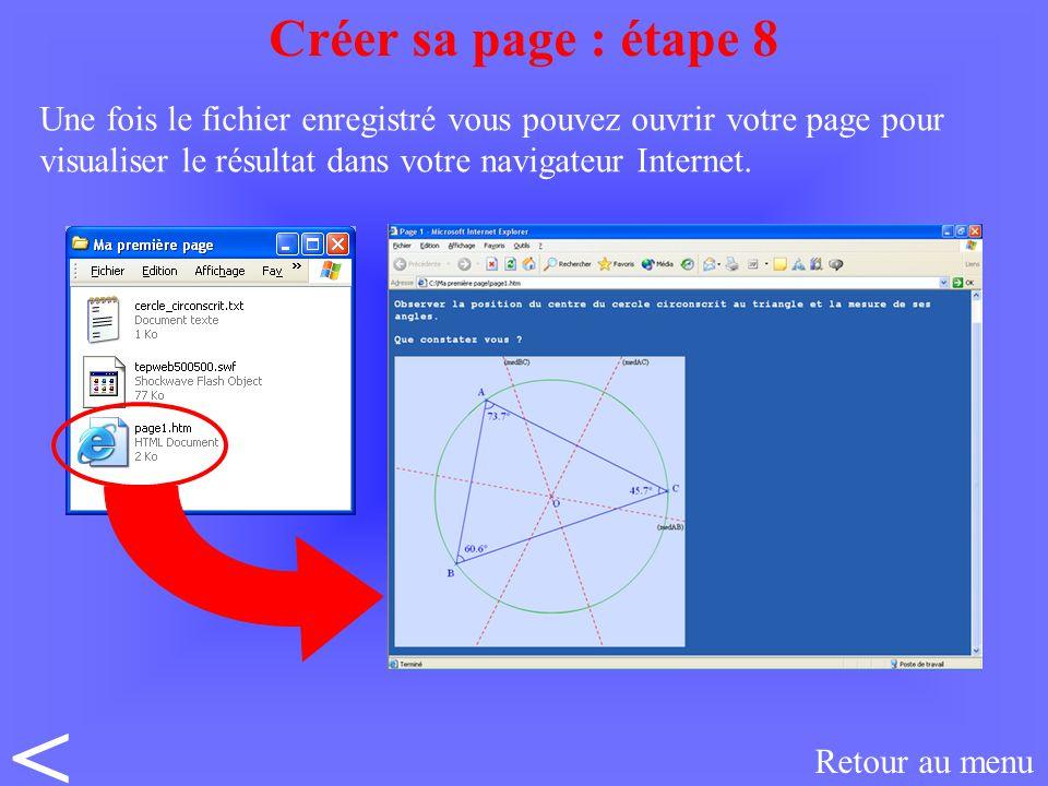 Une fois le fichier enregistré vous pouvez ouvrir votre page pour visualiser le résultat dans votre navigateur Internet.