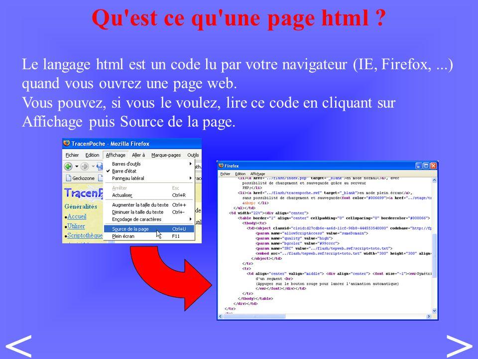 Le langage html est un code lu par votre navigateur (IE, Firefox,...) quand vous ouvrez une page web.