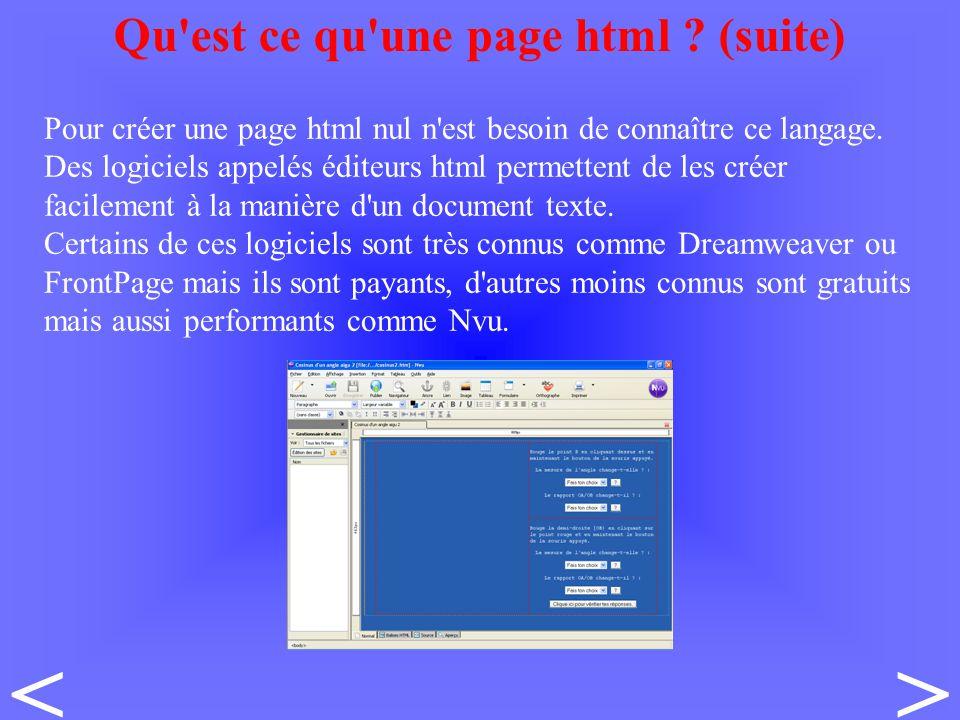 Pour créer une page html nul n est besoin de connaître ce langage.