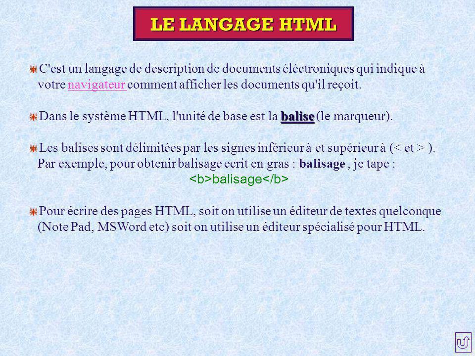 LE LANGAGE HTML  C'est un langage de description de documents éléctroniques qui indique à votre navigateur comment afficher les documents qu'il reçoi