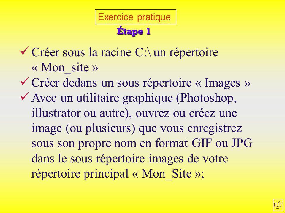 Exercice pratique Créer sous la racine C:\ un répertoire « Mon_site » Créer dedans un sous répertoire « Images » Avec un utilitaire graphique (Photosh