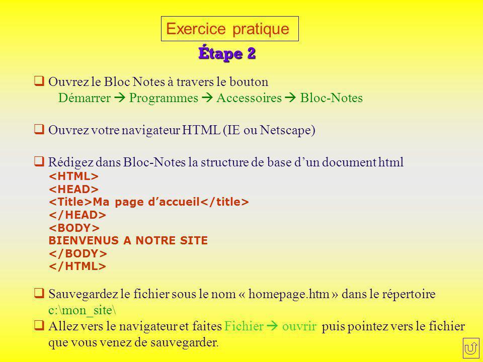 Exercice pratique Étape 2  Ouvrez le Bloc Notes à travers le bouton Démarrer  Programmes  Accessoires  Bloc-Notes  Ouvrez votre navigateur HTML (