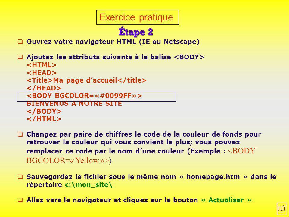 Exercice pratique Étape 2  Ouvrez votre navigateur HTML (IE ou Netscape)  Ajoutez les attributs suivants à la balise Ma page d'accueil BIENVENUS A N