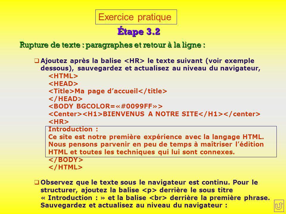 Exercice pratique Étape 3.2 Rupture de texte : paragraphes et retour à la ligne :  Ajoutez après la balise le texte suivant (voir exemple dessous), s