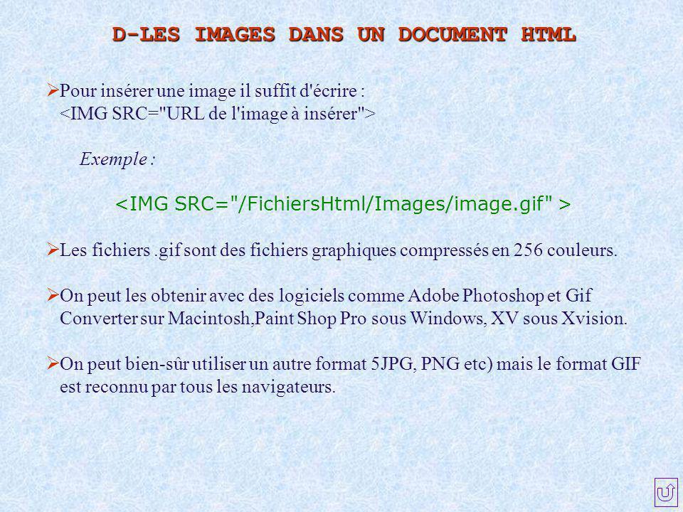  Pour insérer une image il suffit d'écrire : Exemple :  Les fichiers.gif sont des fichiers graphiques compressés en 256 couleurs.  On peut les obte