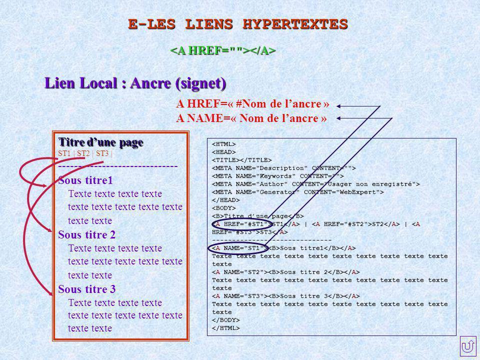 Lien Local : Ancre (signet) A HREF=« #Nom de l'ancre » A NAME=« Nom de l'ancre » Titre d'une page ST1 | ST2 | ST3 | ------------------------------ Sou