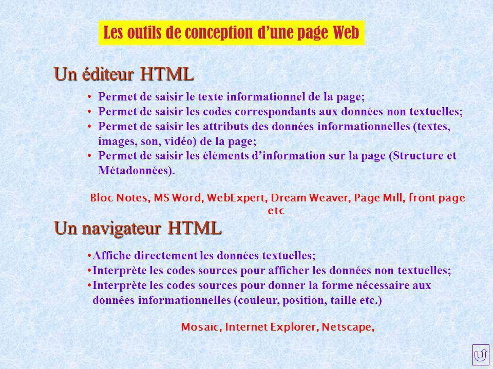 Les outils de conception d'une page Web Un éditeur HTML Un navigateur HTML Permet de saisir le texte informationnel de la page; Permet de saisir les c