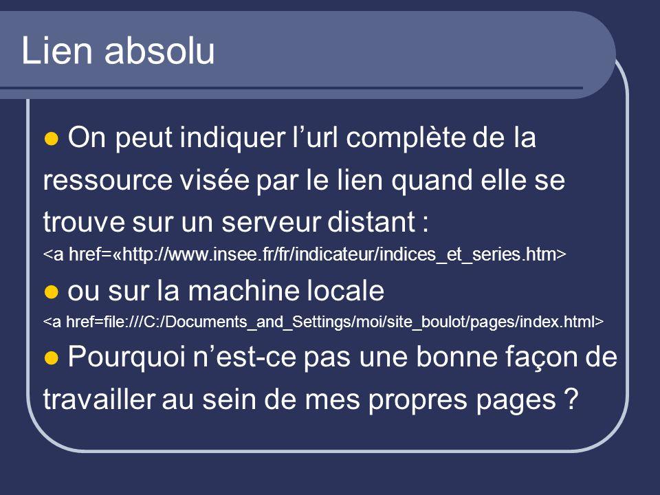 Lien absolu On peut indiquer l'url complète de la ressource visée par le lien quand elle se trouve sur un serveur distant : ou sur la machine locale P