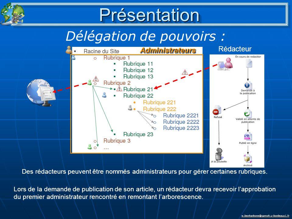 w.benharbone@cpmoh.u-bordeaux1.fr PrésentationPrésentation Rédacteur AdministrateursAdministrateurs Des rédacteurs peuvent être nommés administrateurs pour gérer certaines rubriques.
