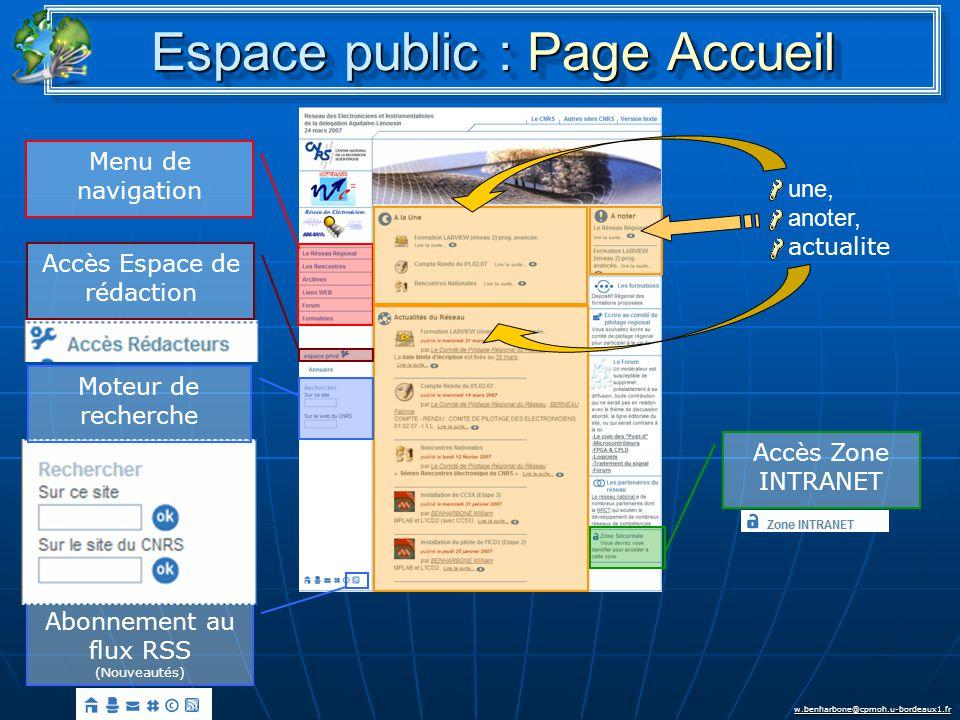 w.benharbone@cpmoh.u-bordeaux1.fr Espace public : Page Accueil Menu de navigation Accès Espace de rédaction Accès Zone INTRANET Abonnement au flux RSS (Nouveautés) Moteur de recherche une, anoter, actualite