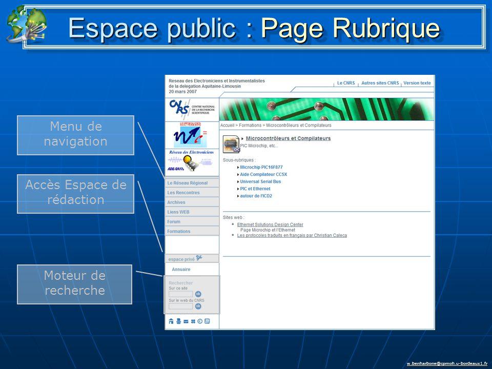 w.benharbone@cpmoh.u-bordeaux1.fr Espace public : Page Rubrique Menu de navigation Accès Espace de rédaction Moteur de recherche