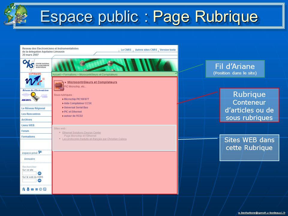 w.benharbone@cpmoh.u-bordeaux1.fr Espace public : Page Rubrique Rubrique Conteneur d'articles ou de sous rubriques Fil d'Ariane (Position dans le site) Sites WEB dans cette Rubrique