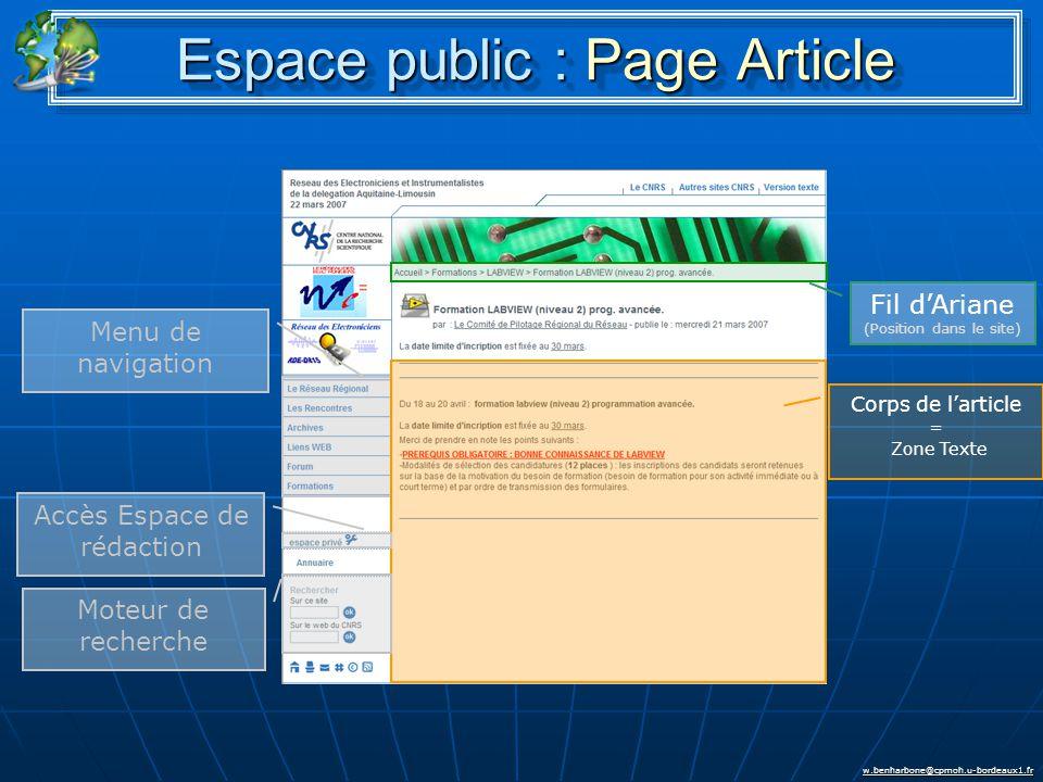 w.benharbone@cpmoh.u-bordeaux1.fr Espace public : Page Article Menu de navigation Accès Espace de rédaction Moteur de recherche Fil d'Ariane (Position dans le site) Corps de l'article = Zone Texte