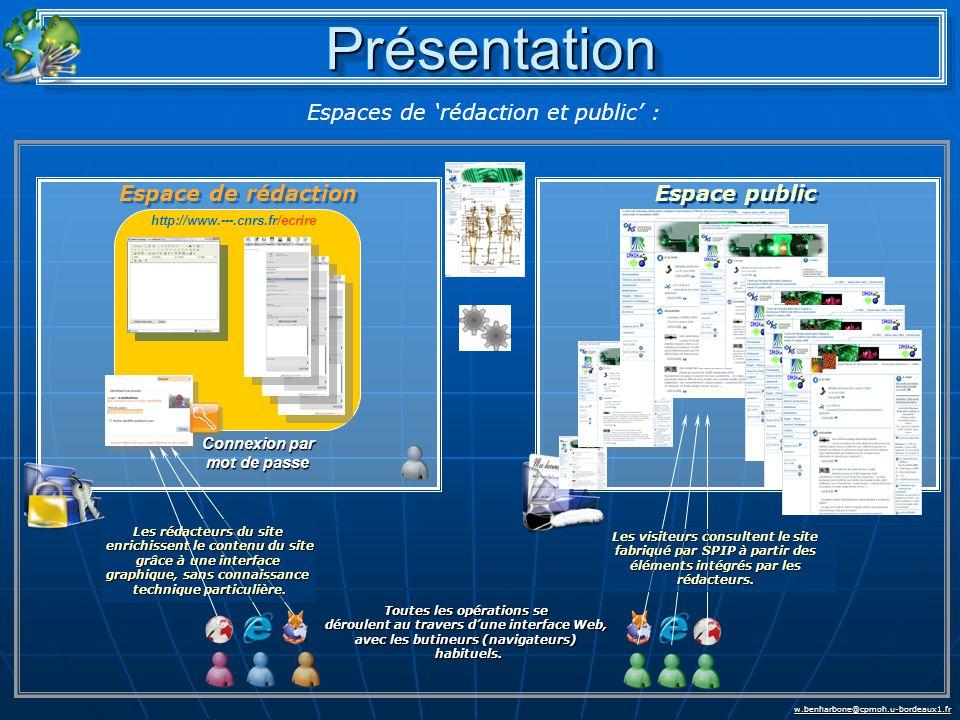 w.benharbone@cpmoh.u-bordeaux1.fr http://www.---.cnrs.fr/ecrire Connexion par mot de passe Les rédacteurs du site enrichissent le contenu du site grâce à une interface graphique, sans connaissance enrichissent le contenu du site grâce à une interface graphique, sans connaissance technique particulière.