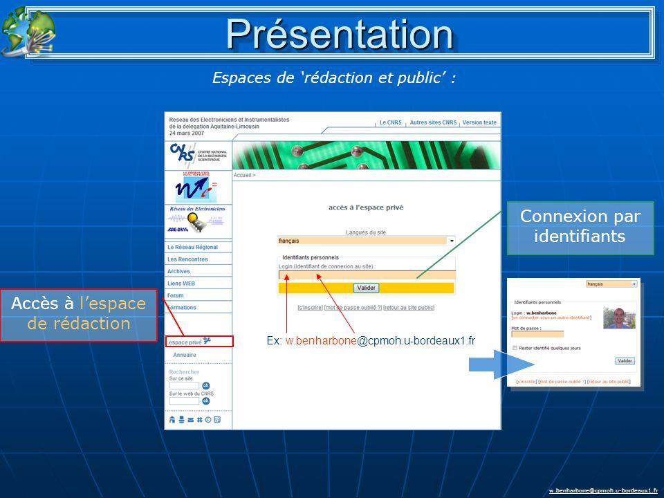 w.benharbone@cpmoh.u-bordeaux1.fr Accès à l'espace de rédaction Connexion par identifiants Ex: w.benharbone@cpmoh.u-bordeaux1.fr Espaces de 'rédaction et public' : PrésentationPrésentation