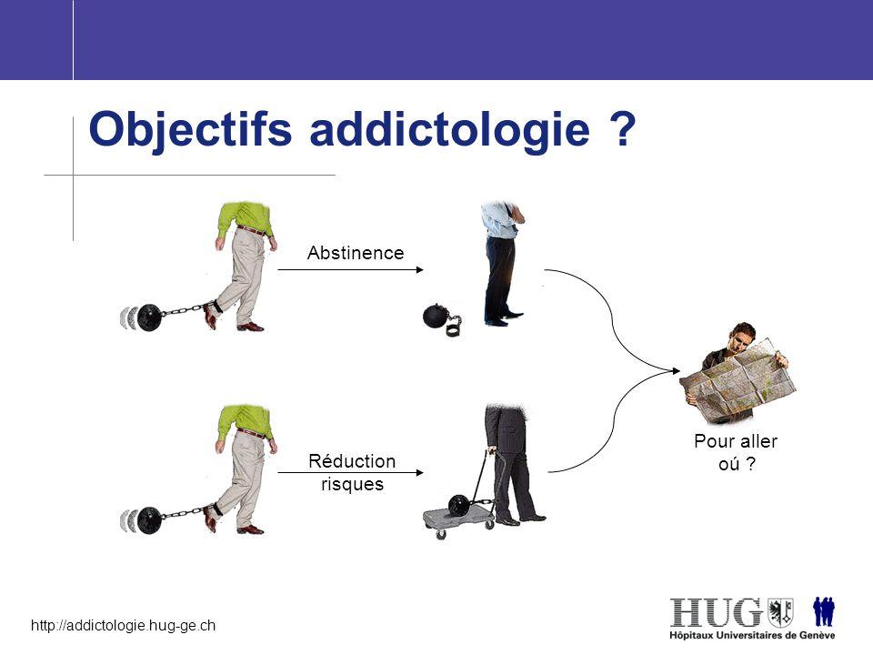 http://addictologie.hug-ge.ch Objectifs addictologie ? Abstinence Réduction risques Pour aller oú ?
