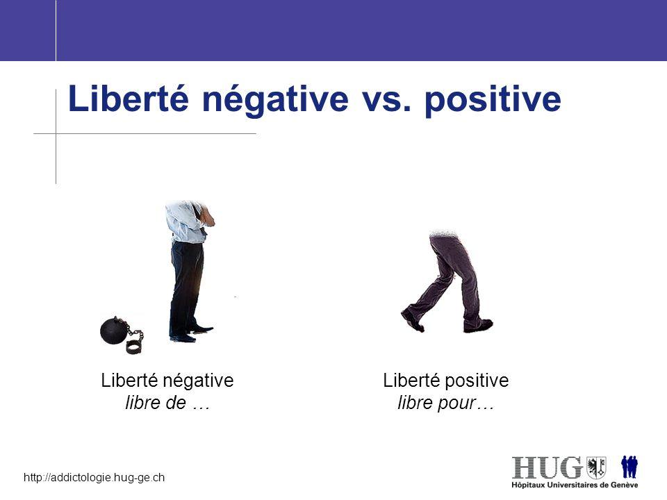 http://addictologie.hug-ge.ch Liberté négative vs. positive Liberté négative libre de … Liberté positive libre pour…