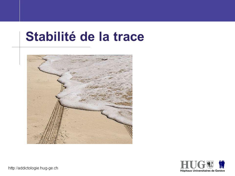 http://addictologie.hug-ge.ch Stabilité de la trace