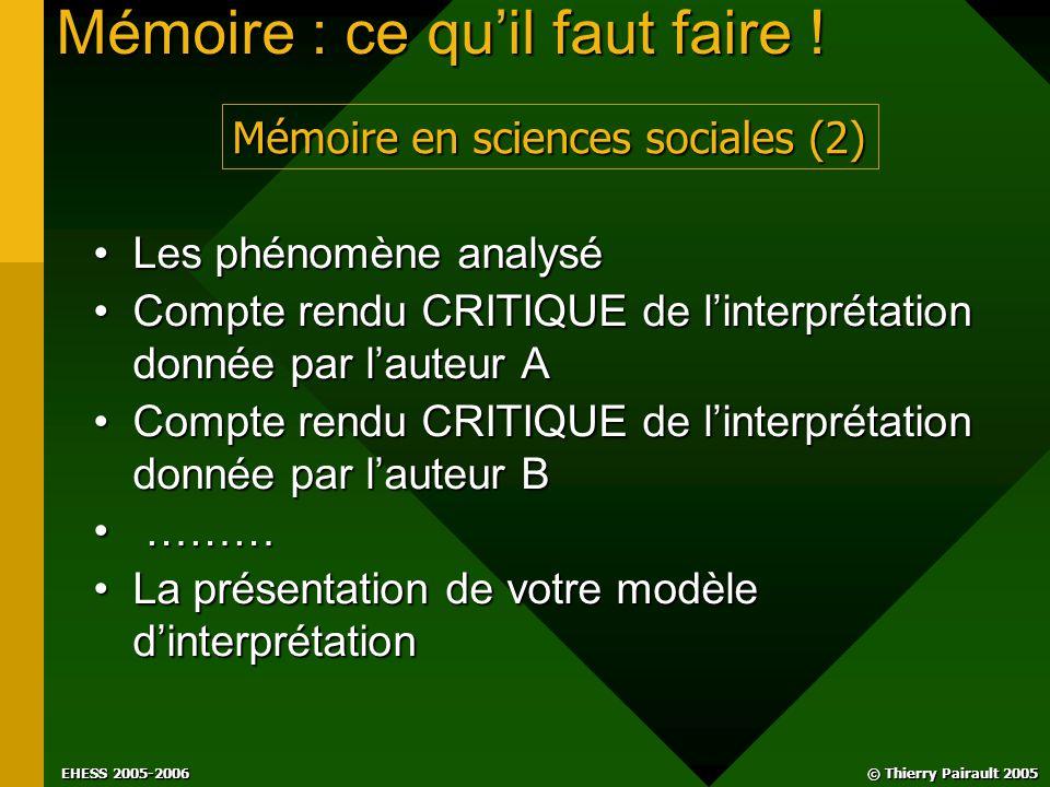 © Thierry Pairault 2005 EHESS 2005-2006 Mémoire : ce qu'il faut faire .