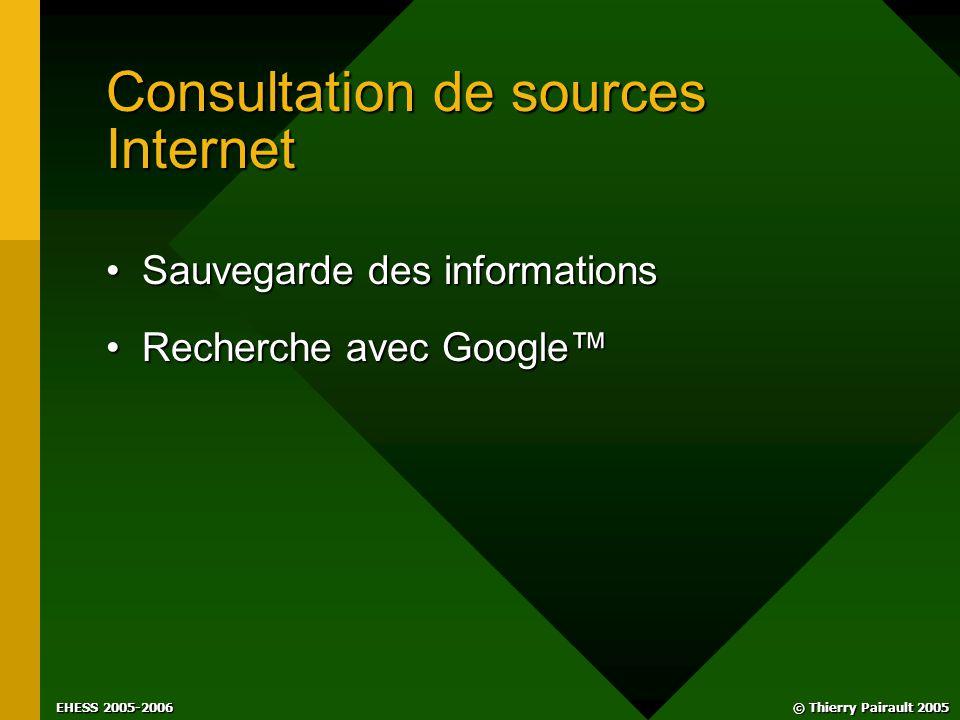 © Thierry Pairault 2005 EHESS 2005-2006 Consultation de sources Internet Sauvegarde des informationsSauvegarde des informations Recherche avec Google™Recherche avec Google™