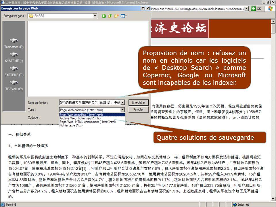 Proposition de nom : refusez un nom en chinois car les logiciels de « Desktop Search » comme Copernic, Google ou Microsoft sont incapables de les indexer.