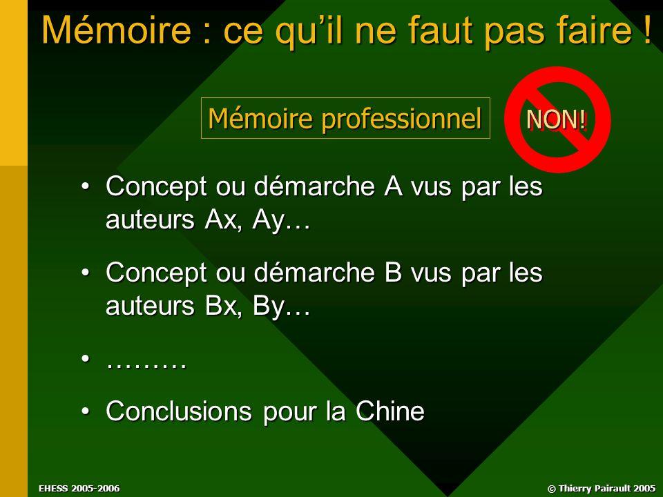 © Thierry Pairault 2005 EHESS 2005-2006 Mémoire : ce qu'il ne faut pas faire .