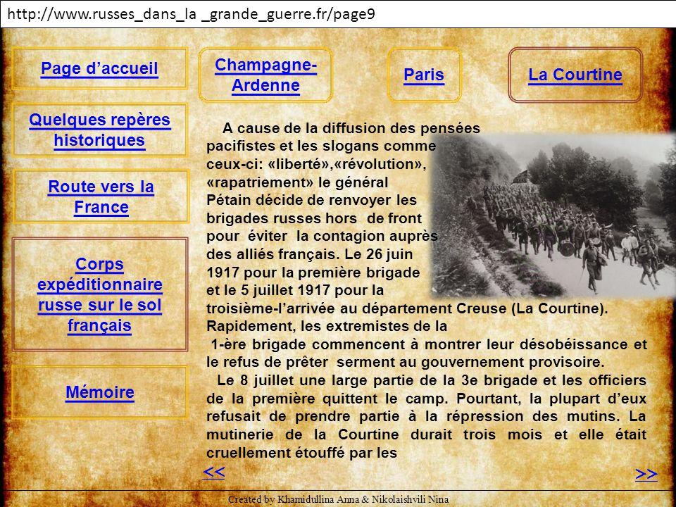 http://www.russes_dans_la _grande_guerre.fr/page16 << A cause de la diffusion des pensées pacifistes et les slogans comme ceux-ci: «liberté»,«révoluti
