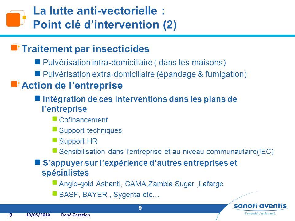 9 Traitement par insecticides Pulvérisation intra-domiciliaire ( dans les maisons) Pulvérisation extra-domiciliaire (épandage & fumigation) Action de