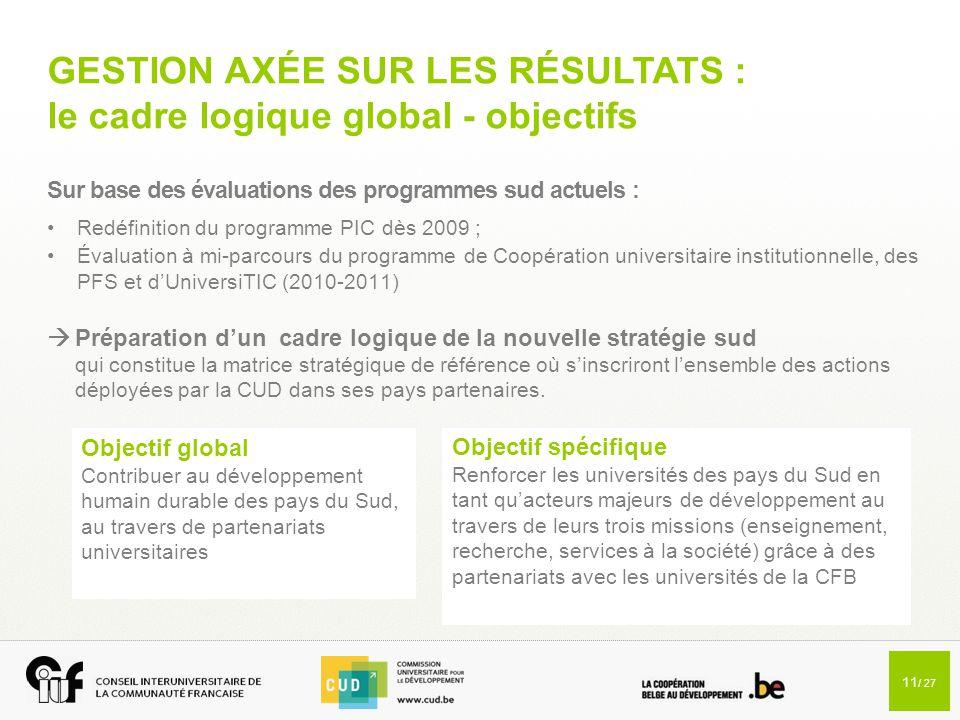 11 / 27 GESTION AXÉE SUR LES RÉSULTATS : le cadre logique global - objectifs Sur base des évaluations des programmes sud actuels : Redéfinition du pro