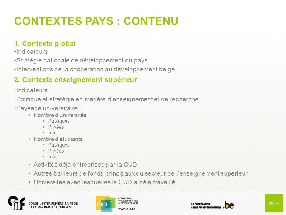 23 / 27 CONTEXTES PAYS : CONTENU 1. Contexte global Indicateurs Stratégie nationale de développement du pays Interventions de la coopération au dévelo