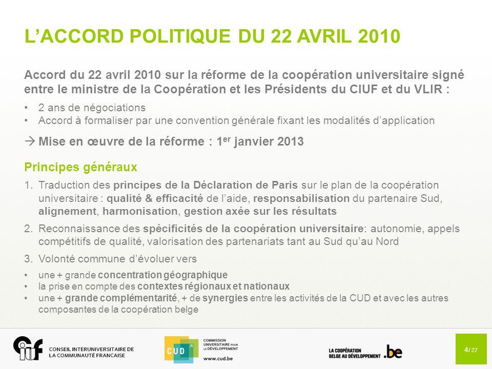 4 / 27 L'ACCORD POLITIQUE DU 22 AVRIL 2010 Accord du 22 avril 2010 sur la réforme de la coopération universitaire signé entre le ministre de la Coopér