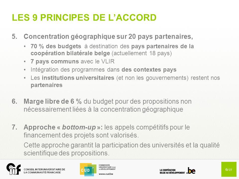 6 / 27 LES 9 PRINCIPES DE L'ACCORD 5.Concentration géographique sur 20 pays partenaires, 70 % des budgets à destination des pays partenaires de la coo