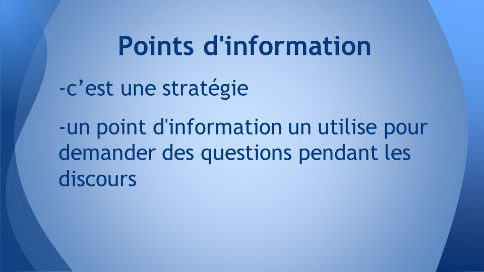 -c'est une stratégie -un point d information un utilise pour demander des questions pendant les discours Points d information