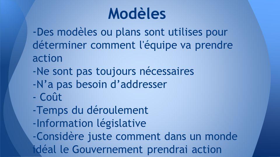 - Des modèles ou plans sont utilises pour déterminer comment l équipe va prendre action -Ne sont pas toujours nécessaires -N'a pas besoin d'addresser - Coût -Temps du déroulement -Information législative -Considère juste comment dans un monde idéal le Gouvernement prendrai action Modèles