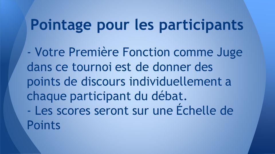 - Votre Première Fonction comme Juge dans ce tournoi est de donner des points de discours individuellement a chaque participant du débat.