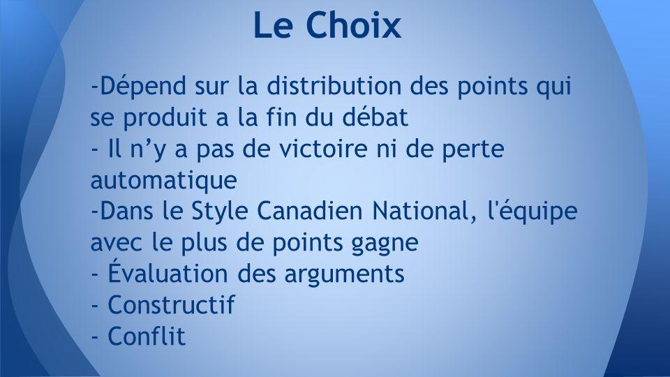 -Dépend sur la distribution des points qui se produit a la fin du débat - Il n'y a pas de victoire ni de perte automatique -Dans le Style Canadien National, l équipe avec le plus de points gagne - Évaluation des arguments - Constructif - Conflit Le Choix