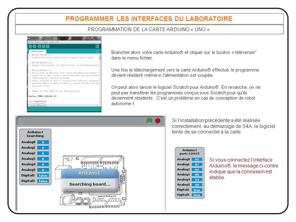 PROGRAMMER LES INTERFACES DU LABORATOIRE PROGRAMMATION DE LA CARTE ARDUINO « UNO ». Brancher alors votre carte Arduino® et cliquer sur le bouton « tél