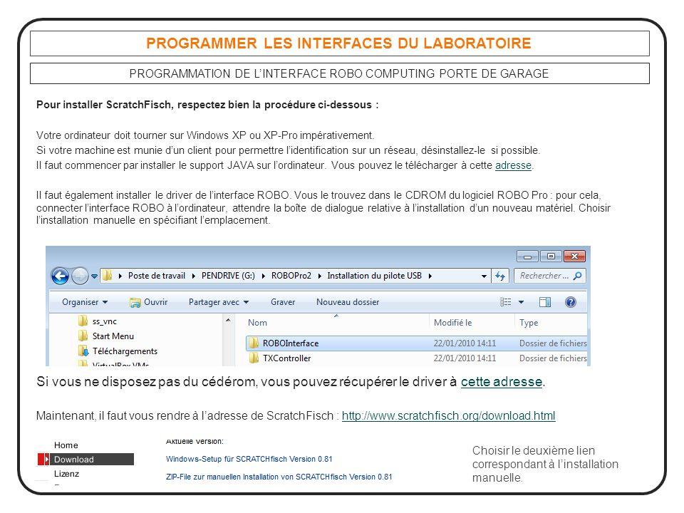 PROGRAMMER LES INTERFACES DU LABORATOIRE PROGRAMMATION DE L'INTERFACE ROBO COMPUTING PORTE DE GARAGE Pour installer ScratchFisch, respectez bien la pr