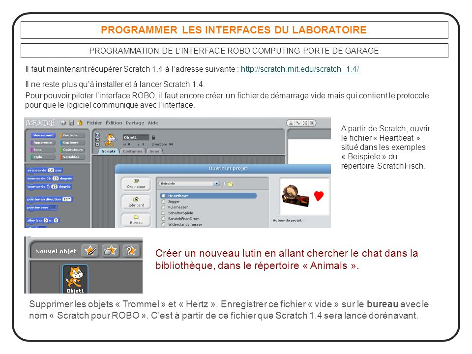 PROGRAMMER LES INTERFACES DU LABORATOIRE PROGRAMMATION DE L'INTERFACE ROBO COMPUTING PORTE DE GARAGE Il faut maintenant récupérer Scratch 1.4 à l'adre