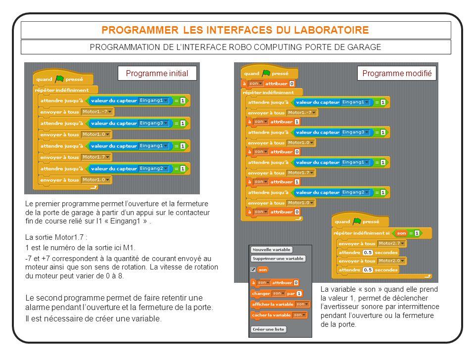 PROGRAMMER LES INTERFACES DU LABORATOIRE PROGRAMMATION DE L'INTERFACE ROBO COMPUTING PORTE DE GARAGE Le premier programme permet l'ouverture et la fer