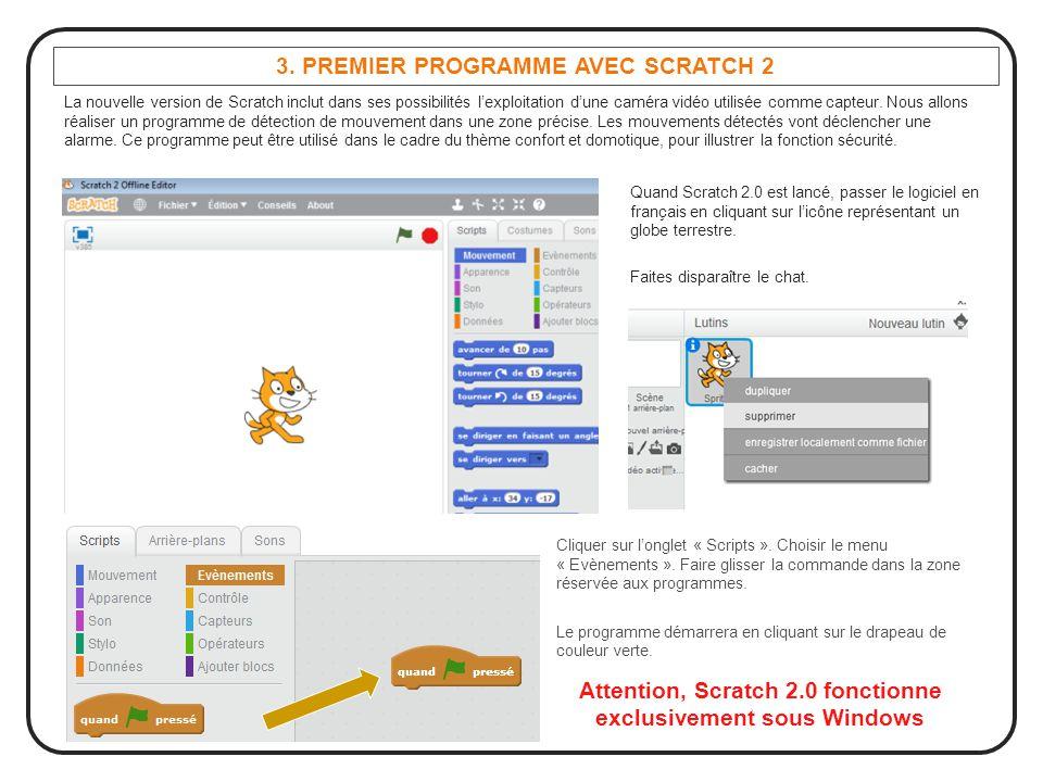 3. PREMIER PROGRAMME AVEC SCRATCH 2 La nouvelle version de Scratch inclut dans ses possibilités l'exploitation d'une caméra vidéo utilisée comme capte