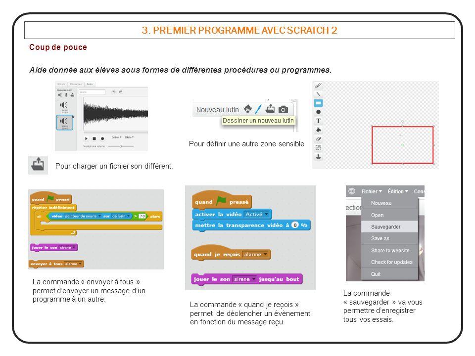 3. PREMIER PROGRAMME AVEC SCRATCH 2 Coup de pouce Aide donnée aux élèves sous formes de différentes procédures ou programmes. Pour charger un fichier