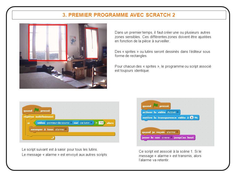 3. PREMIER PROGRAMME AVEC SCRATCH 2 Dans un premier temps, il faut créer une ou plusieurs autres zones sensibles. Ces différentes zones doivent être a