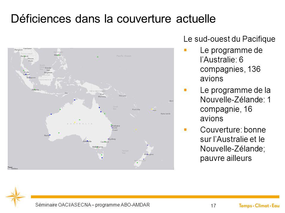 Déficiences dans la couverture actuelle Le sud-ouest du Pacifique  Le programme de l'Australie: 6 compagnies, 136 avions  Le programme de la Nouvell