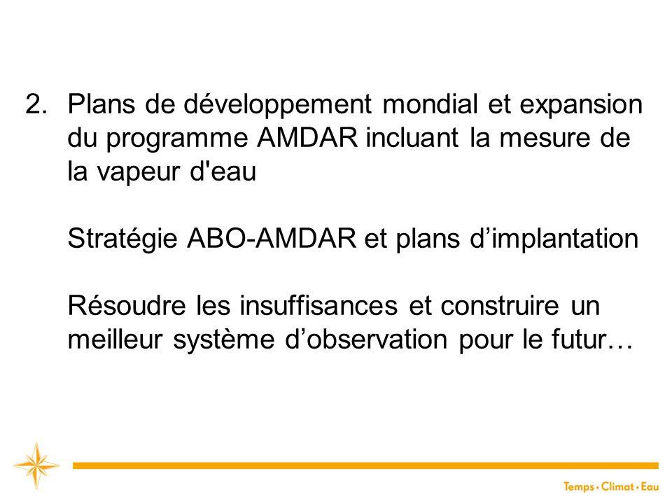 2.Plans de développement mondial et expansion du programme AMDAR incluant la mesure de la vapeur d'eau Stratégie ABO-AMDAR et plans d'implantation Rés