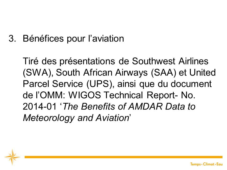 3.Bénéfices pour l'aviation Tiré des présentations de Southwest Airlines (SWA), South African Airways (SAA) et United Parcel Service (UPS), ainsi que